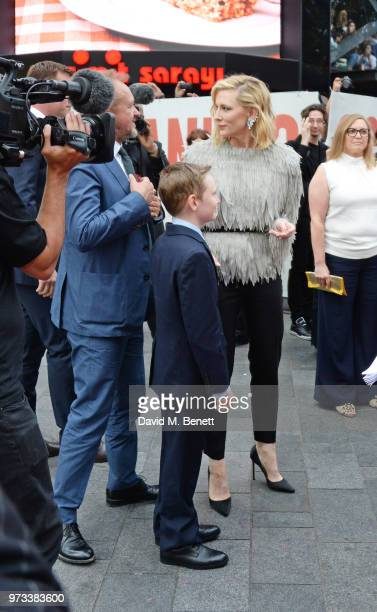 Cate Blanchett speaks to husband Andrew Upton and son Ignatius at the 'Ocean's 8' UK Premiere held at Cineworld Leicester Square on June 13 2018 in...