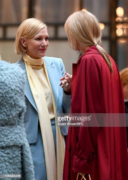 Cate Blanchett talks to Joely Richardson at the Roksanda Show during London Fashion Week February 2020 on February 16 2020 in London England
