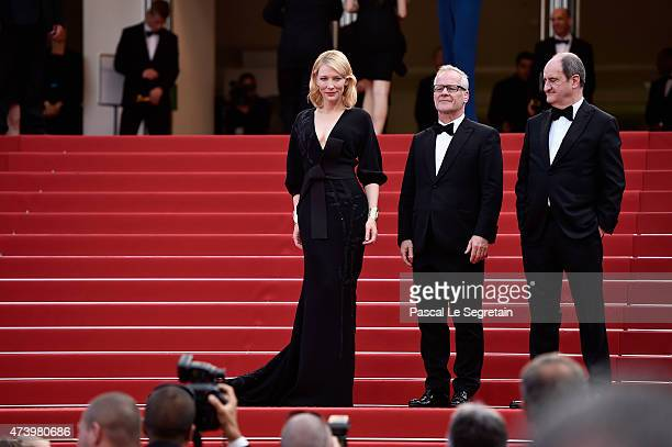 Cate Blanchett Thierry Fremaux and Pierre Lescure attends the Premiere of 'Sicario' during the 68th annual Cannes Film Festival on May 19 2015 in...