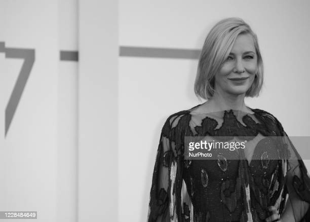 Image was converted to black and white) Cate Blanchett walks the red carpet ahead of closing ceremony at the 77th Venice Film Festival on September...