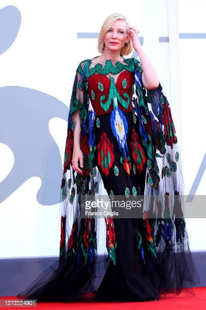 Cate Blanchett walks the red carpet ahead of closing ceremony at the 77th Venice Film Festival on September 12, 2020 in Venice, Italy.