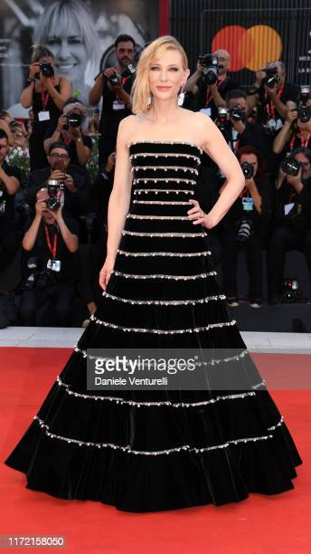 Retransmission with alternate crop Cate Blanchett walks the red carpet ahead of the Joker screening during the 76th Venice Film Festival at Sala...