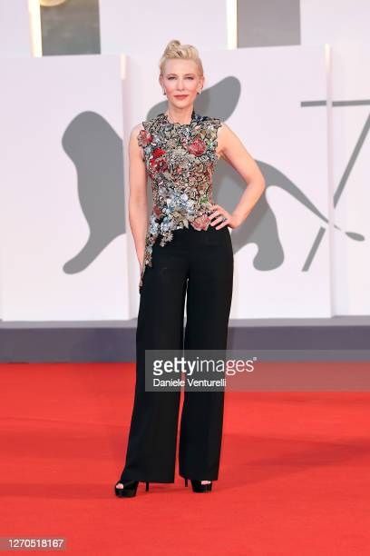 """Cate Blanchett walks the red carpet ahead of the movie """"Amants"""" at the 77th Venice Film Festival at on September 03, 2020 in Venice, Italy."""