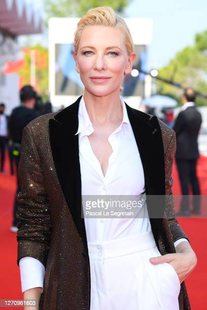 "Cate Blanchett walks the red carpet ahead of the movie ""Khorshid"" at the 77th Venice Film Festival on September 06, 2020 in Venice, Italy."