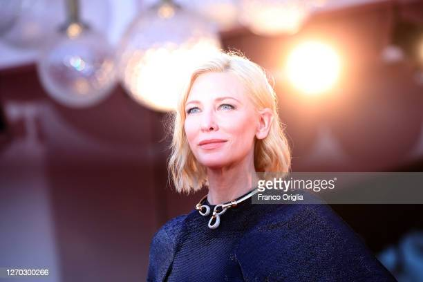"""Cate Blanchett walks the red carpet ahead of the Opening Ceremony and the """"Lacci"""" red carpet during the 77th Venice Film Festival at on September 02,..."""