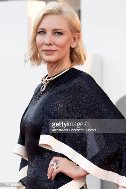 "Cate Blanchett walks the red carpet ahead of the Opening Ceremony and the ""Lacci"" red carpet during the 77th Venice Film Festival on September 02,..."