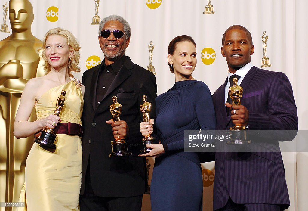 Cate Blanchett, winner Best Actress in a Supporting Role for 'The Aviator', Morgan Freeman, winner Best Actor in a Supporting Role for 'Million Dollar Baby', Hilary Swank, winner Best Actress in a Leading Role for 'Million Dollar Baby', and Jamie Foxx, winner Best Actor in a Leading Role for 'Ray'
