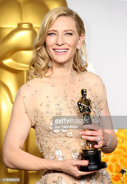 Cate Blanchett winner of Best Actress for 'Blue Jasmine' poses in the press room at the 86th Annual Academy Awards at Hollywood Highland Center on...