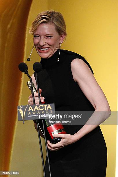 Cate Blanchett wins the AACTA Longford Lyell Award during the 5th AACTA Awards Presented by Presto at The Star on December 9 2015 in Sydney Australia