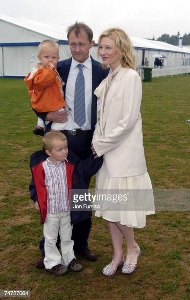 Cate Blanchett with her husband Andrew Upton and her sons Roman and Dashiell at the Smiths lawn in Windsor United Kingdom