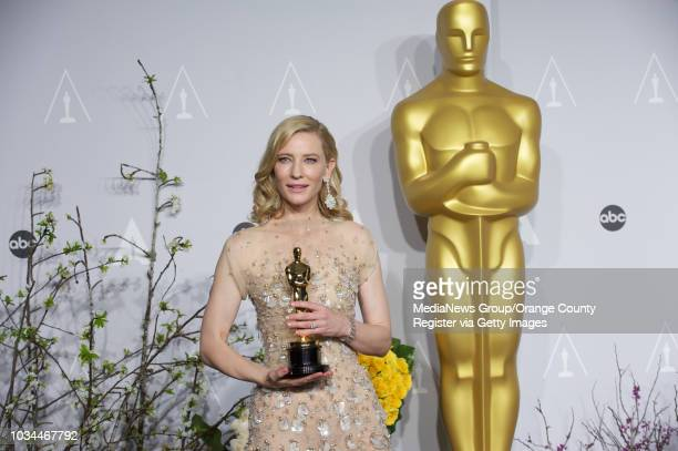 Cate Blanchett with her Oscars in the photo room during the 86th annual Academy Awards at the Dolby Theater in Hollywood CA on March 2 2014