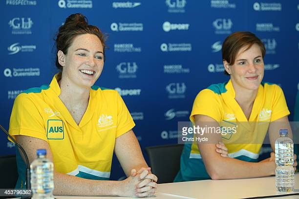 Cate Campbell and Bronte Campbell speak to media during the Australian Pan Pacs Squad press conference at the Gold Coast Aquatic Centre on August 19...