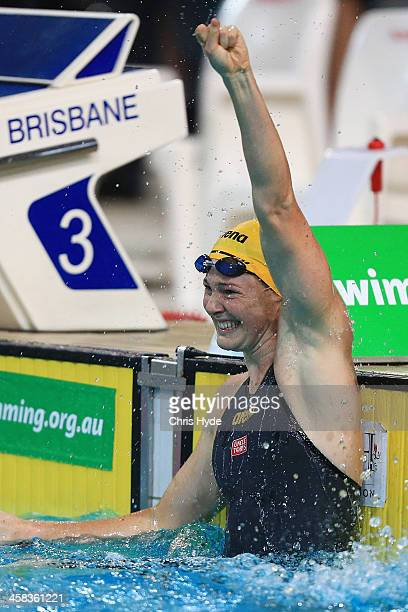 Cate Campbell celebrates after breaking a World Record in the Women 100 Metre Freestyle during the 2016 Australian Swimming Grand Prix at the...