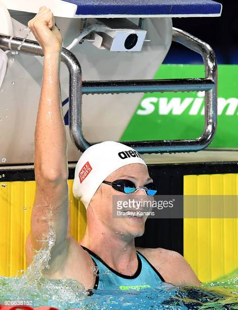 Cate Campbell celebrates after winning the final of the Women's 50m Freestyle event during the 2018 Australia Swimming National Trials at the Optus...