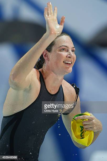 Cate Campbell celebrates after winning the Women's 100m Freestyle final during day two of the 2014 Pan Pacific Championships at Gold Coast Aquatics...