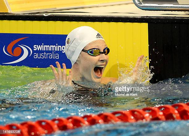 Cate Campbell of Australia celebrates after competing in the Womens 50 Metre Freestyle Final during day eight of the Australian Olympic Swimming...