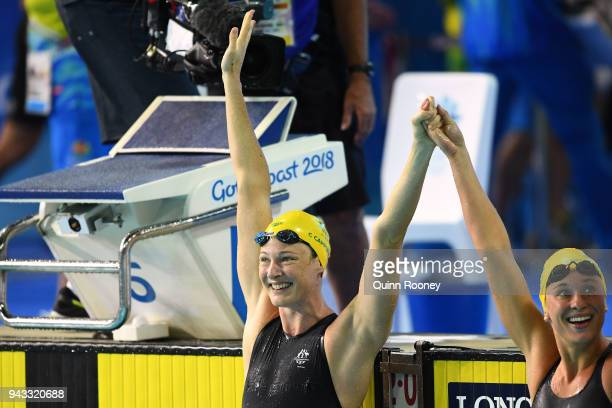 Cate Campbell of Australia celebrates victory in the Women's 50m Butterfly Final on day four of the Gold Coast 2018 Commonwealth Games at Optus...