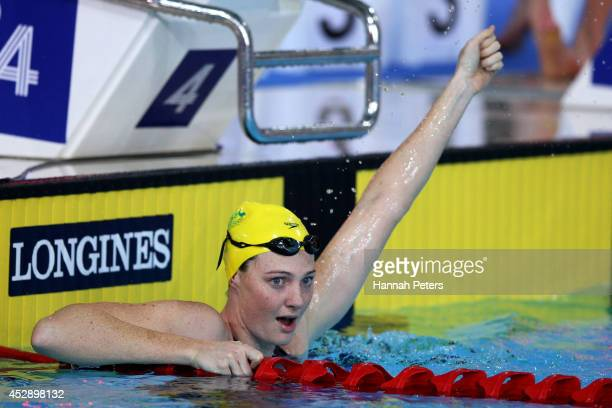 Cate Campbell of Australia celebrates winning the gold medal in the Women's 4 x 100m Medley Relay Final at Tollcross International Swimming Centre...