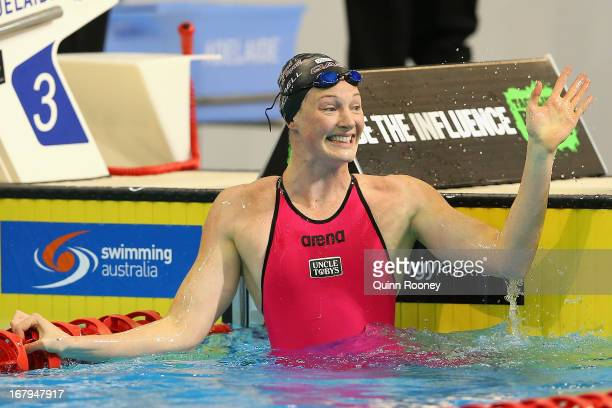 Cate Campbell of Australia celebrates winning the Women's 50 Metre Freestyle during day eight of the Australian Swimming Championships at SA Aquatic...
