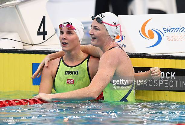 Cate Campbell of Australia celebrates with Bronte Campbell of Australia after winning the Womens 100m Freestyle Final during day six of the...