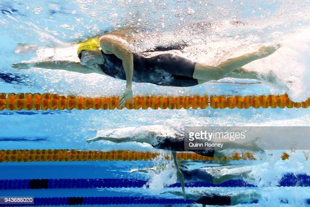 Cate Campbell of Australia competes during the Women's 100m Freestyle Final on day five of the Gold Coast 2018 Commonwealth Games at Optus Aquatic...