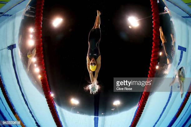 Cate Campbell of Australia competes during the Women's 50m Butterfly Final on day four of the Gold Coast 2018 Commonwealth Games at Optus Aquatic...