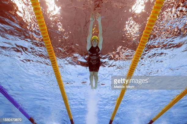 Cate Campbell of Team Australia competes in the Women's 4 x 100m Freestyle Relay Final on day two of the Tokyo 2020 Olympic Games at Tokyo Aquatics...