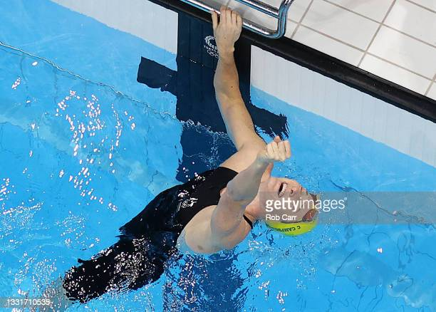 Cate Campbell of Team Australia reacts after Women's 4 x 100m Medley Relay Final on day nine of the Tokyo 2020 Olympic Games at Tokyo Aquatics Centre...