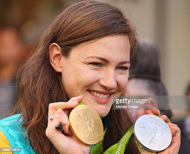 Cate Campbell poses for fans with her medals during the Australian Olympic Team Melbourne Welcome Home Celebration at Bourke Street on August 31 2016...