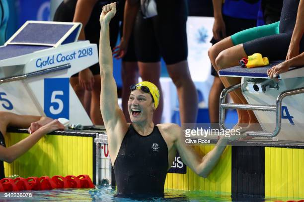 Cate Campbelll celebrates a team victory and a new world record in the Women's 4 x 100m Freestyle Relay Final with her teammates on day one of the...