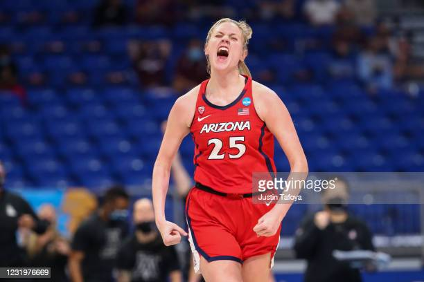 Cate Reese of the Arizona Wildcats reacts to a play during the game against the Texas A&M Aggies in the Sweet 16 at Alamodome on March 27, 2021 in...