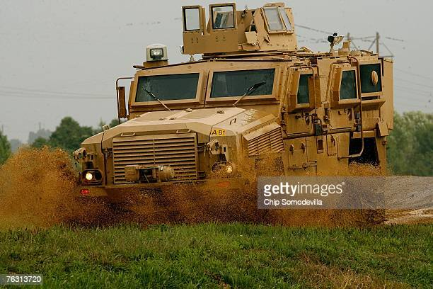 Category I Mine Resistant Ambush Protected vehicle drives through an offroad course during a demonstration on August 24 2007 at Aberdeen Proving...