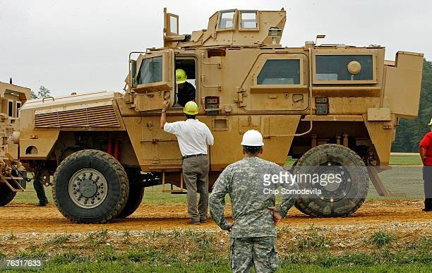 Category I Mine Resistant Ambush Protected vehicle is displayed during a demonstration at Aberdeen Proving Ground on Friday August 24 2007 in...