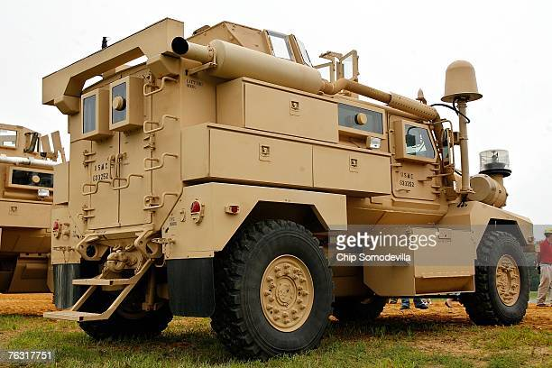 Category I Mine Resistant Ambush Protected vehicle is on display during a demonstration at Aberdeen Proving Ground on Friday August 24 2007 in...