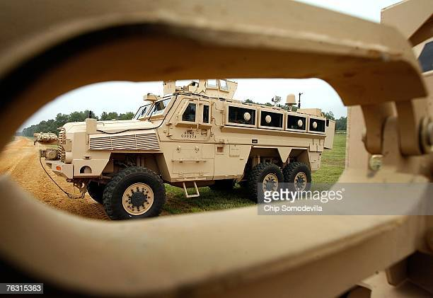 Category II Mine Resistant Ambush Protected vehicle is on display during a demonstration at Aberdeen Proving Ground on Friday August 24 2007 in...
