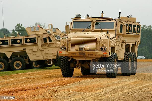 Category II Mine Resistant Ambush Protected vehicle rolls out during a demonstration at Aberdeen Proving Ground on Friday August 24 2007 in Aberdeen...