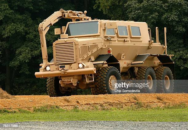 Category III Mine Resistant Ambush Protected vehicle or 'Buffalo' rolls out during a demonstration at Aberdeen Proving Ground August 24 2007 near...