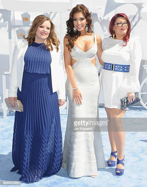 Catelynn Lowell Farrah Abraham and Amber Portwood arrive at the 2015 MTV Movie Awards at Nokia Theatre LA Live on April 12 2015 in Los Angeles...