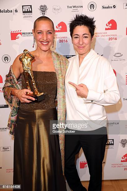 Catenia Lermer with award and Dunja Hayali during the Hessian Film and Cinema Award at Alte Oper on October 21, 2016 in Frankfurt am Main, Germany.