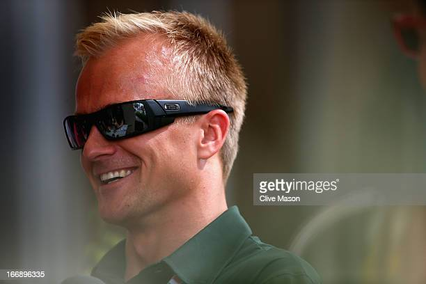 Caterham reserve driver Heikki Kovalainen of Finland is seen during previews for the Bahrain Formula One Grand Prix at the Bahrain International...