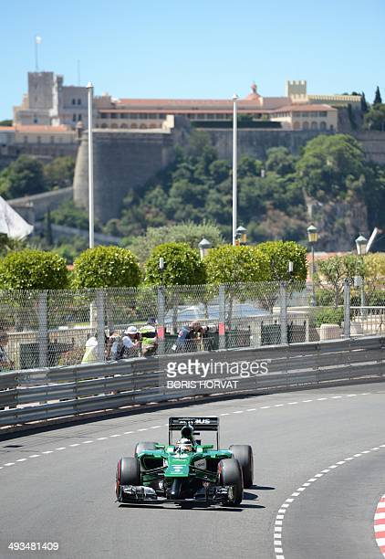 Caterham's Japanese driver Kamui Kobayashi drives at the Monaco street circuit during the third practice session of the Monaco Formula One Grand Prix...