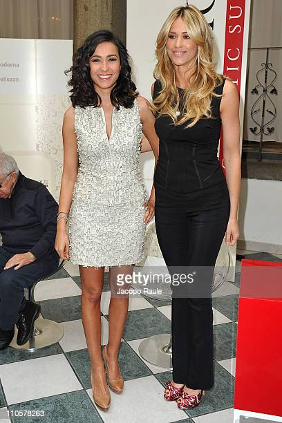 Caterina Balivo and Elena Santarelli attend LaClinique Cosmetic Surgery Contest on March 22 2011 in Milan Italy
