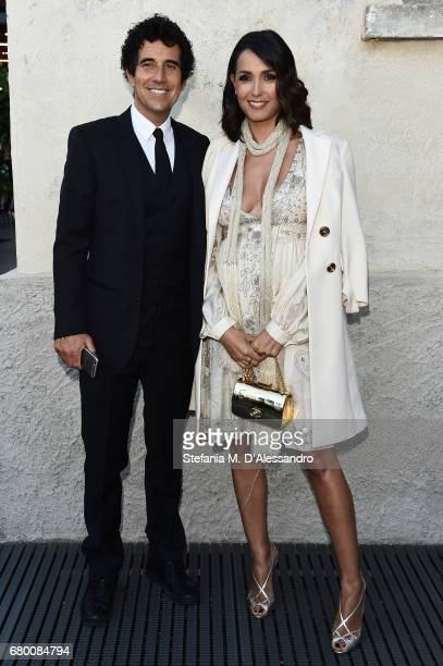 Caterina Balivo and Guido Maria Brera attend a 'Private view of 'TV 70 Francesco Vezzoli Guarda La Rai' at Fondazione Prada on May 7 2017 in Milan...