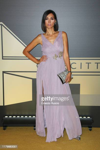 Caterina Balivo attends the golden carpet for the Academy of Motion Picture Arts and Sciences event at Palazzo Barberini on October 08 2019 in Rome...