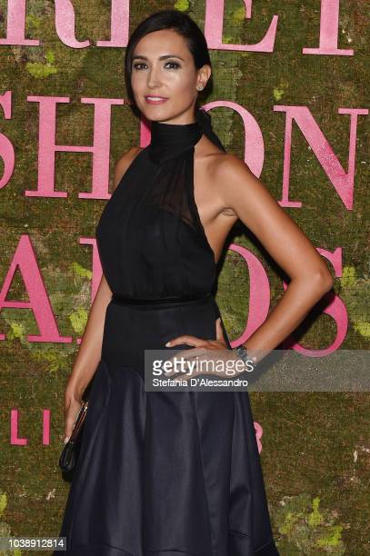 Caterina Balivo attends the Green Carpet Fashion Awards in a denim outfit by Laura Strambi in collaboration with Isko at Teatro Alla Scala on...