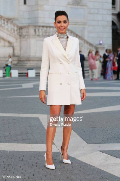 Caterina Balivo attends the Laura Biagiotti Fashion Show at Piazza del Campidoglio on September 13, 2020 in Rome, Italy.