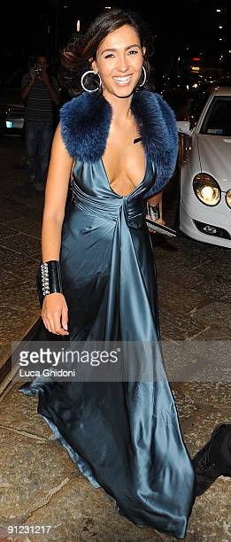 Caterina Balivo leaves amfAR Milano 2009 after party inaugural Milan Fashion week at La Permanente on September 28 2009 in Milan Italy