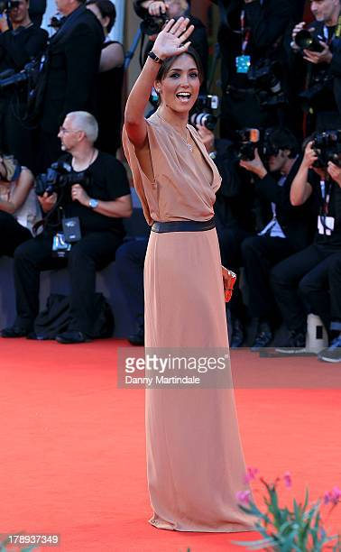Caterina Balivo waves to the crowd during the 'Philomenia' Premiere during The 70th Venice International Film Festival at the Palazzo del Casino on...