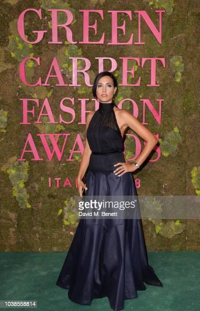 Caterina Balivo, wearing Laura Strambi X Isko, attends The Green Carpet Fashion Awards Italia 2018 at Teatro Alla Scala on September 23, 2018 in...