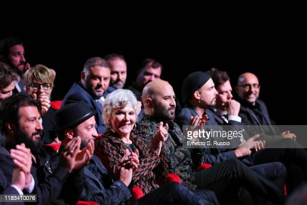 Caterina Caselli and Giuliano Sangiorgi attend the Negramaro L'anima vista da qui screening during the 14th Rome Film Festival on October 25 2019 in...